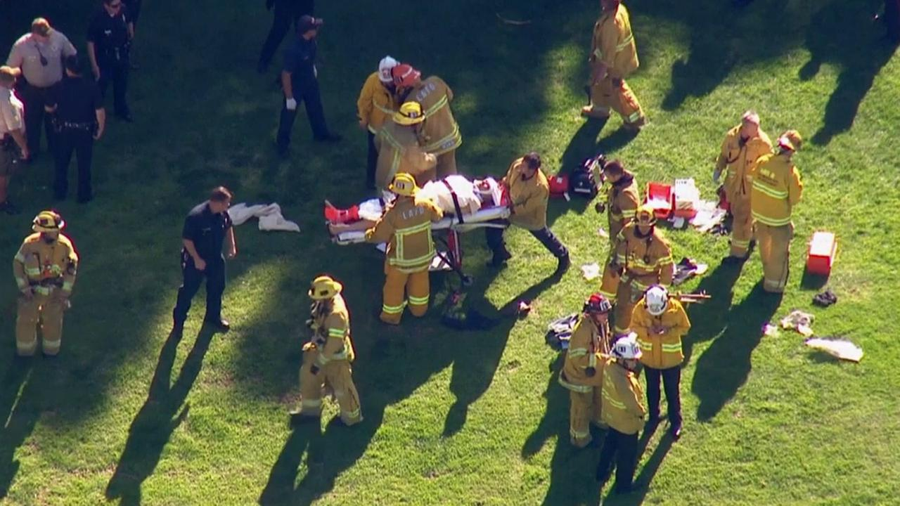 Actor Harrison Ford is transported on a gurney to a nearby ambulance after he crashed a small plane at a Venice golf course on Thursday, March 5, 2015.