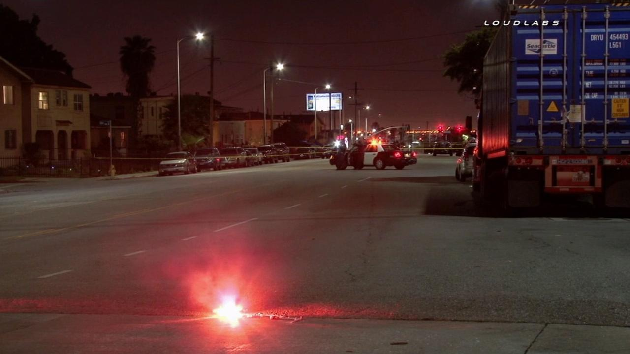 At least one person was killed and two others injured during a car-to-car shooting in the Athens Park neighborhood of Los Angeles Saturday, March 7, 2015.