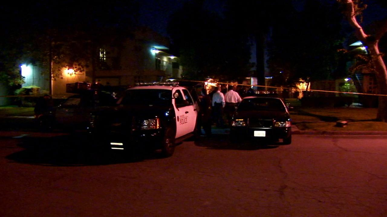Anaheim police investigate a fatal officer-involved shooting at an apartment building near the area of Ball Road and Euclid Street Sunday, March 8, 2015.