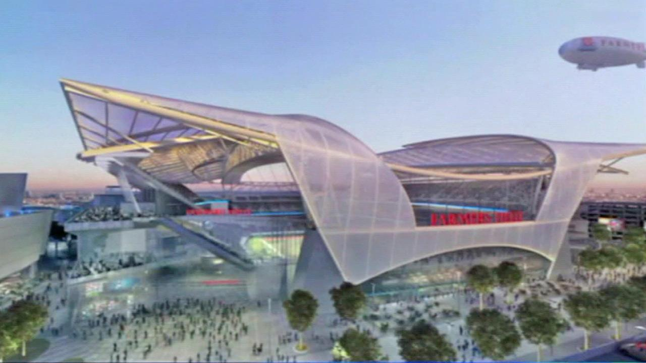 This file photo shows a proposed football stadium for an NFL team in downtown Los Angeles.