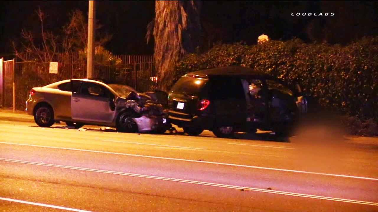 A Scion and a Chrysler minivan are shown following a fatal crash in Riverside on Wednesday, March 11, 2015.