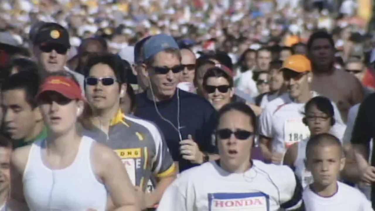 Participants run in the LA Marathon in this file image.