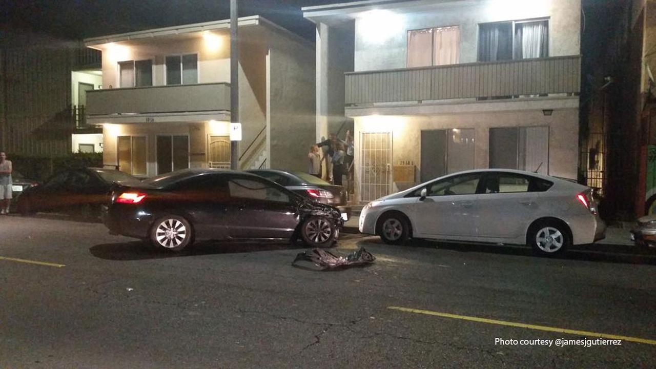 A hit-and-run driver crashed into at least nine parked cars in Venice on Thursday, March 12, 2015.