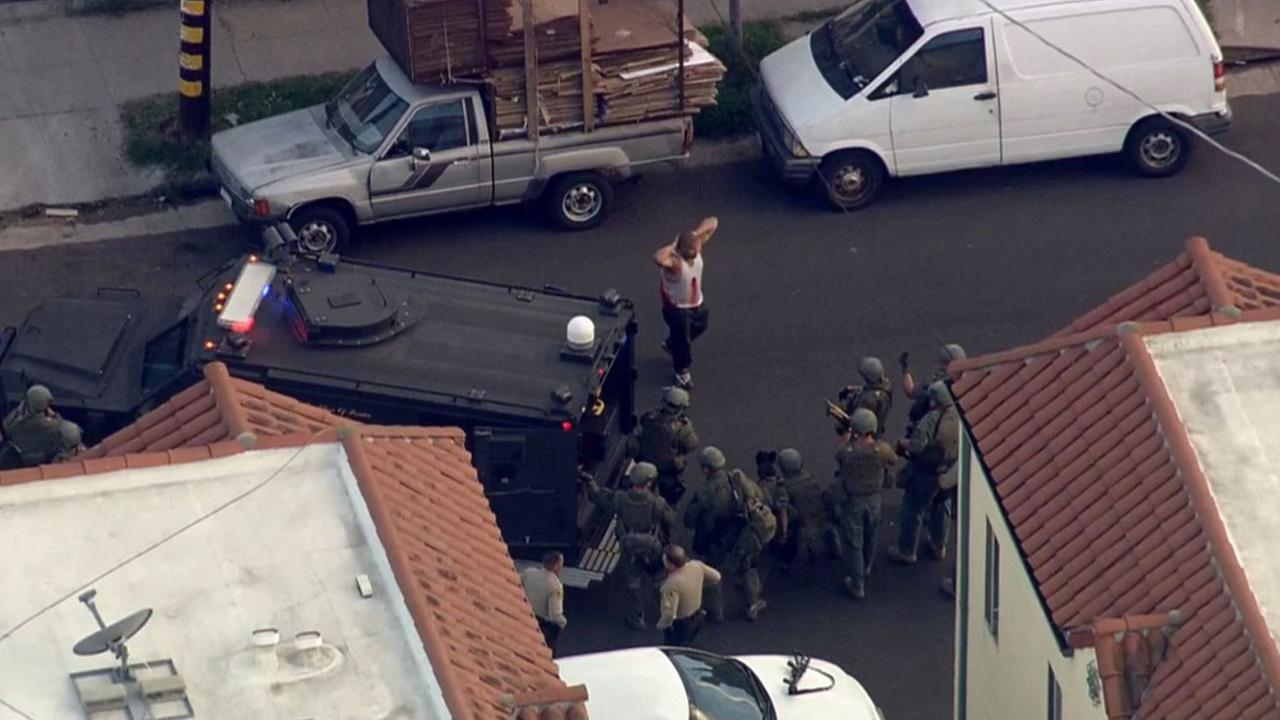 A suspect is seen surrendering to Los Angeles County sheriffs deputies in South L.A. at the end of a standoff and chase on Friday, March 13, 2015.
