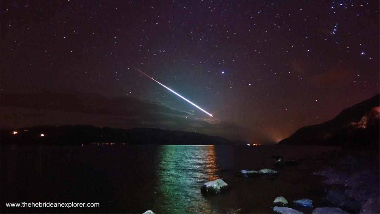 A meteor lit up the sky over Loch Ness Sunday, March 15, 2015.