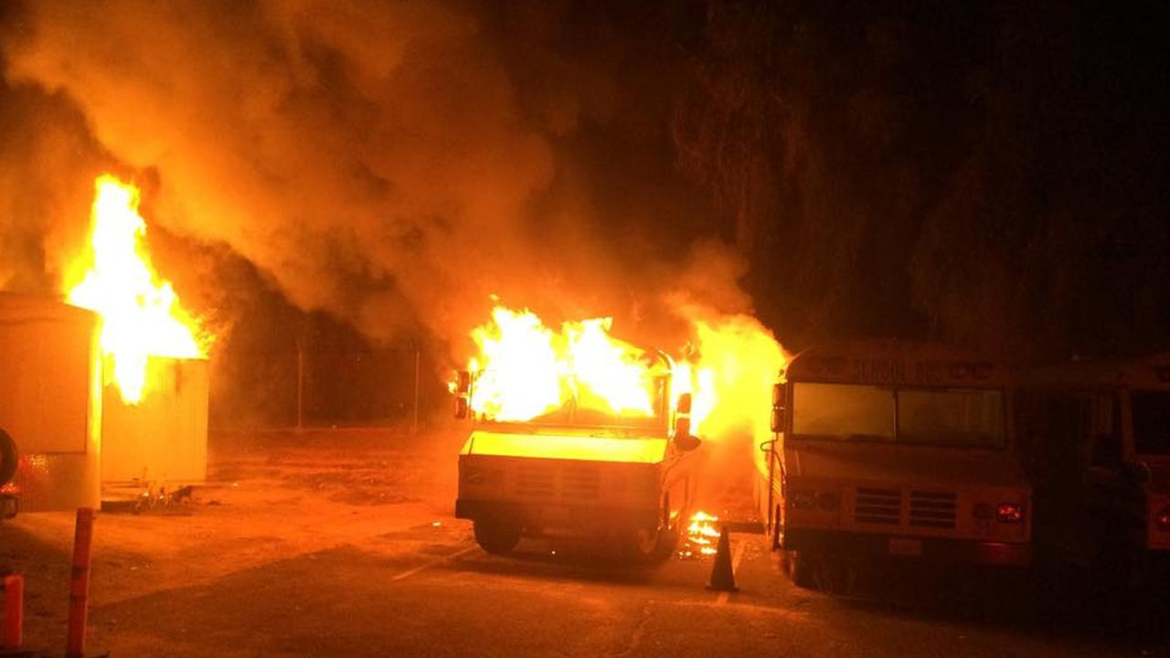 Multiple fires were reported at Redlands High School on Wednesday, March 18, 2015.