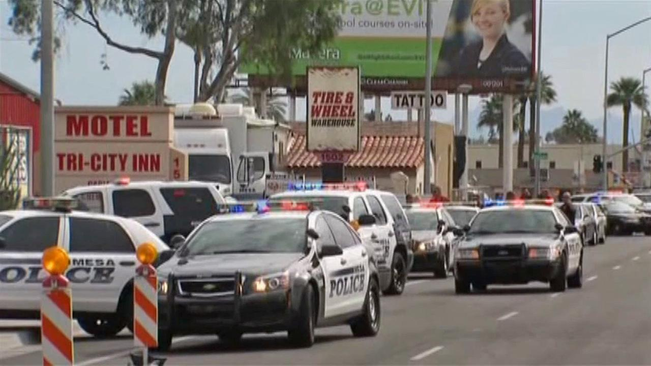 Mesa police are searching for a gunman in a shooting spree across the Phoenix, Ariz., suburb on Wednesday, March 18, 2015.