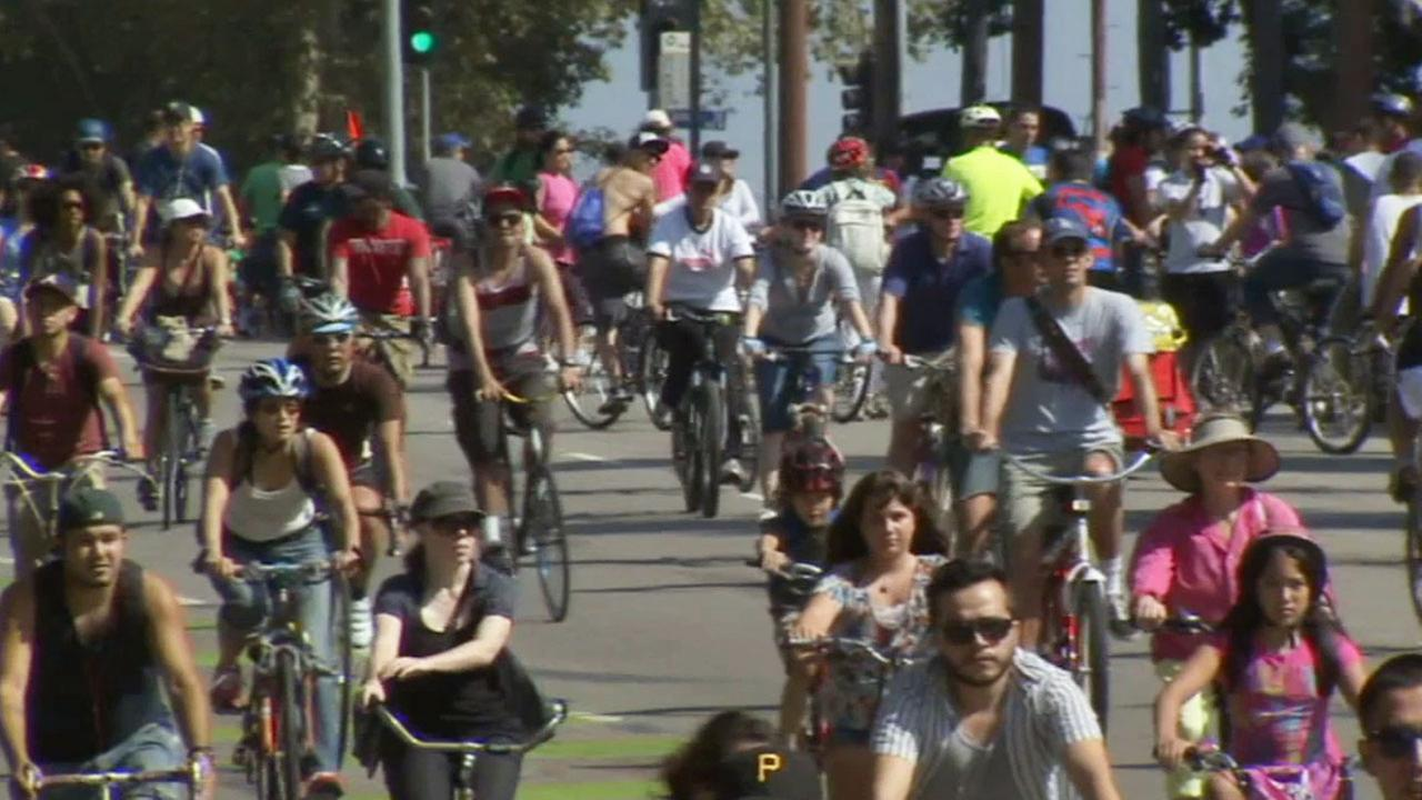 Bicyclists take part in CicLAvia in this undated file photo.