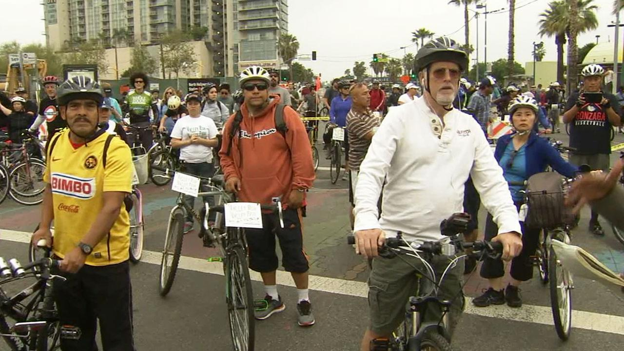 Bicyclists make their way through the San Fernando Valley, as part of the CicLAvia event Sunday, March 22, 2015.