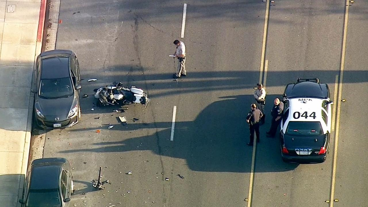 A Monterey Park police motorcycle officer was injured in a collision near Atlantic Boulevard and El Repetto Drive Monday, March 23, 2015.