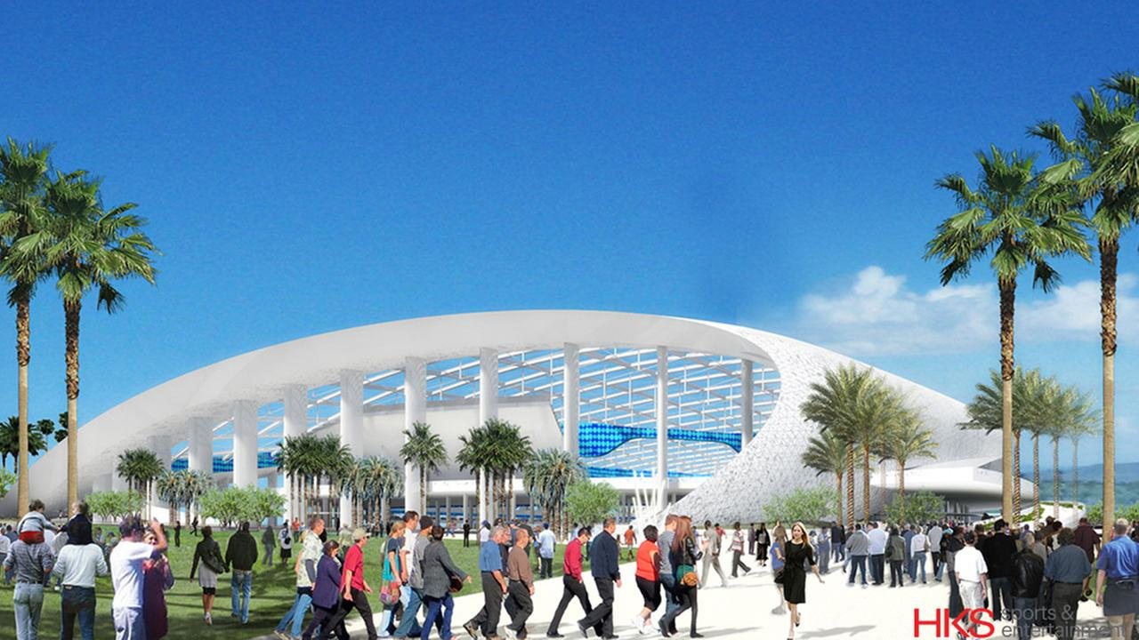 A rendering of Los Angeles Rams owner Stan Kroenkes proposed $2-billion venue at the former Hollywood Park racetrack site in Inglewood.