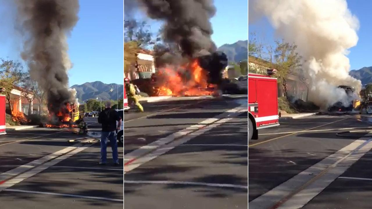 A school bus fire in Rancho Santa Margarita was caught on camera on Friday, March 27, 2015.
