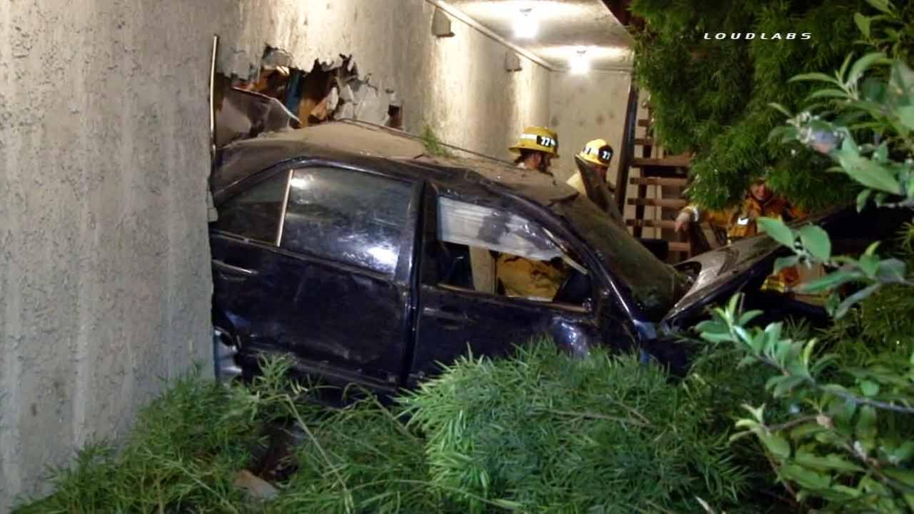 A car crashed into one side of a Sun Valley motel, went straight through and came out the other side early on Friday, March 27, 2015.