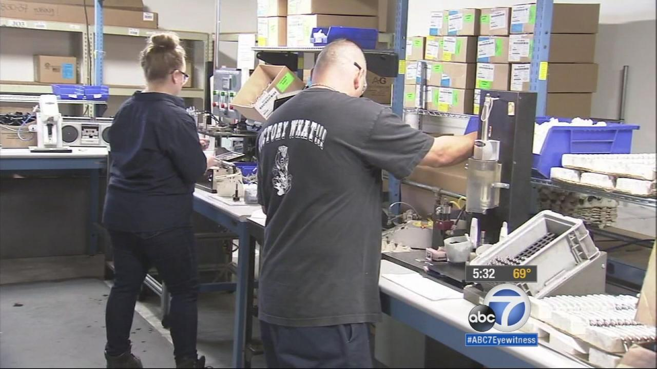 Bobrick Manufacturing employees are shown working in North Hollywood in this March 2015 photo.