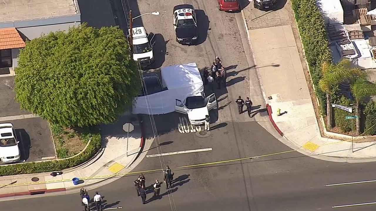 Hawthorne police respond to the scene of an officer-involved shooting at Kornblum and Rosecrans avenue Wednesday, April 1, 2015.