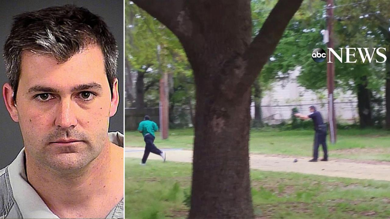 South Carolina Officer Michael Slager (left) was charged with murder after a bystanders video recorded him firing eight shots at an unarmed mans back as he ran away.
