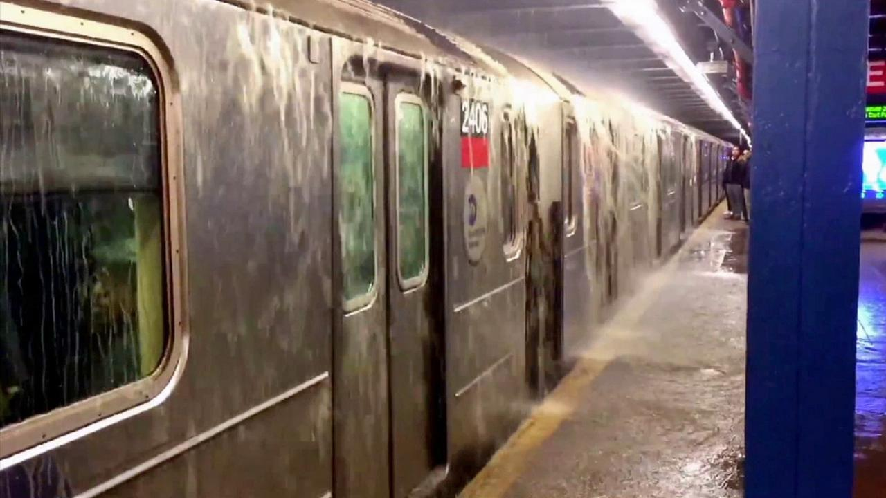 A water main break flooded a subway station in Greenwich Village on Wednesday, April 8, 2015.