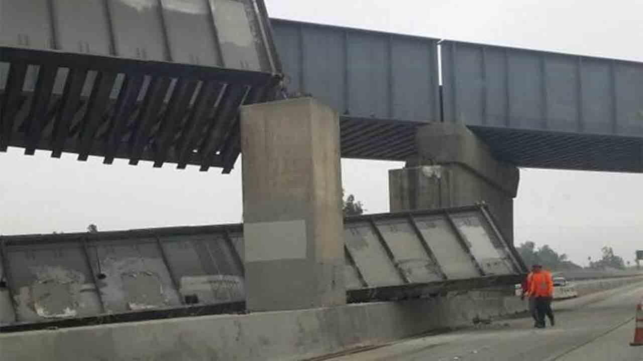 The 91 Freeway was closed between Central Avenue and 14th Street in Riverside after a bridge collapsed Sunday, May 18, 2014.