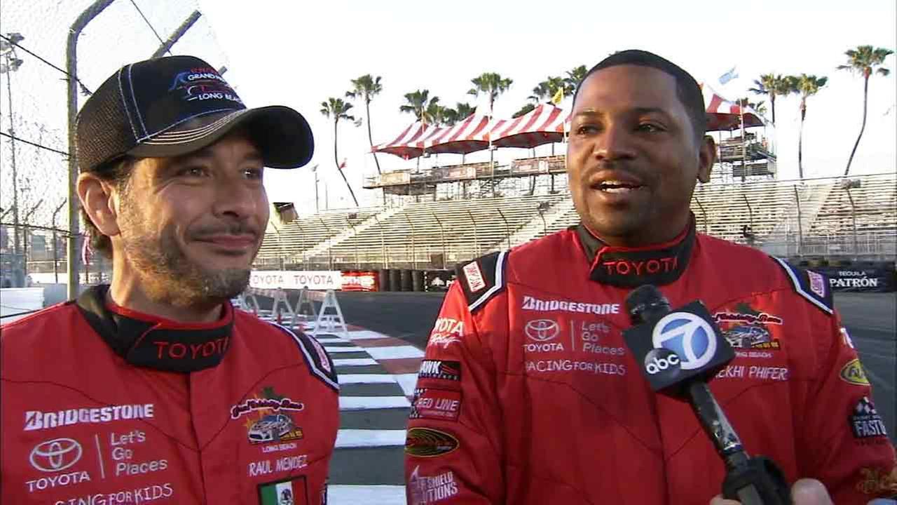 Actors Mekhi Phifer and Raul Mendez speak at the Toyota Grand Prix of Long Beach on Friday, April 17, 2015.