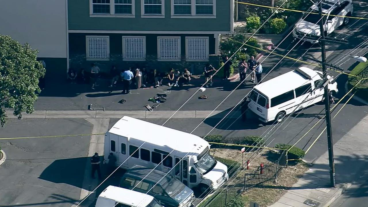 Santa Ana police respond to the scene of a stabbing near Community Day School in the 800 block of North Fairview Street Friday, April 17, 2015.