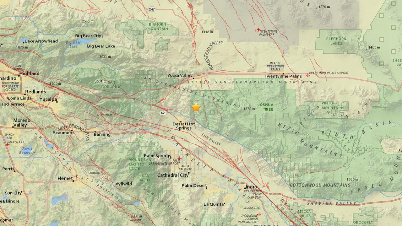 An earthquake with a preliminary magnitude of 3.2 struck 14 miles north northeast of Palm Springs Saturday, April 18, 2015.