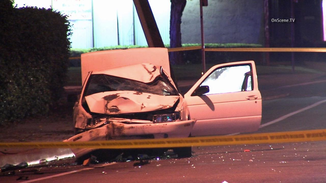 The car of an alleged DUI driver who struck a bicyclist in Lakewood is totaled on Sunday, April 19, 2015.