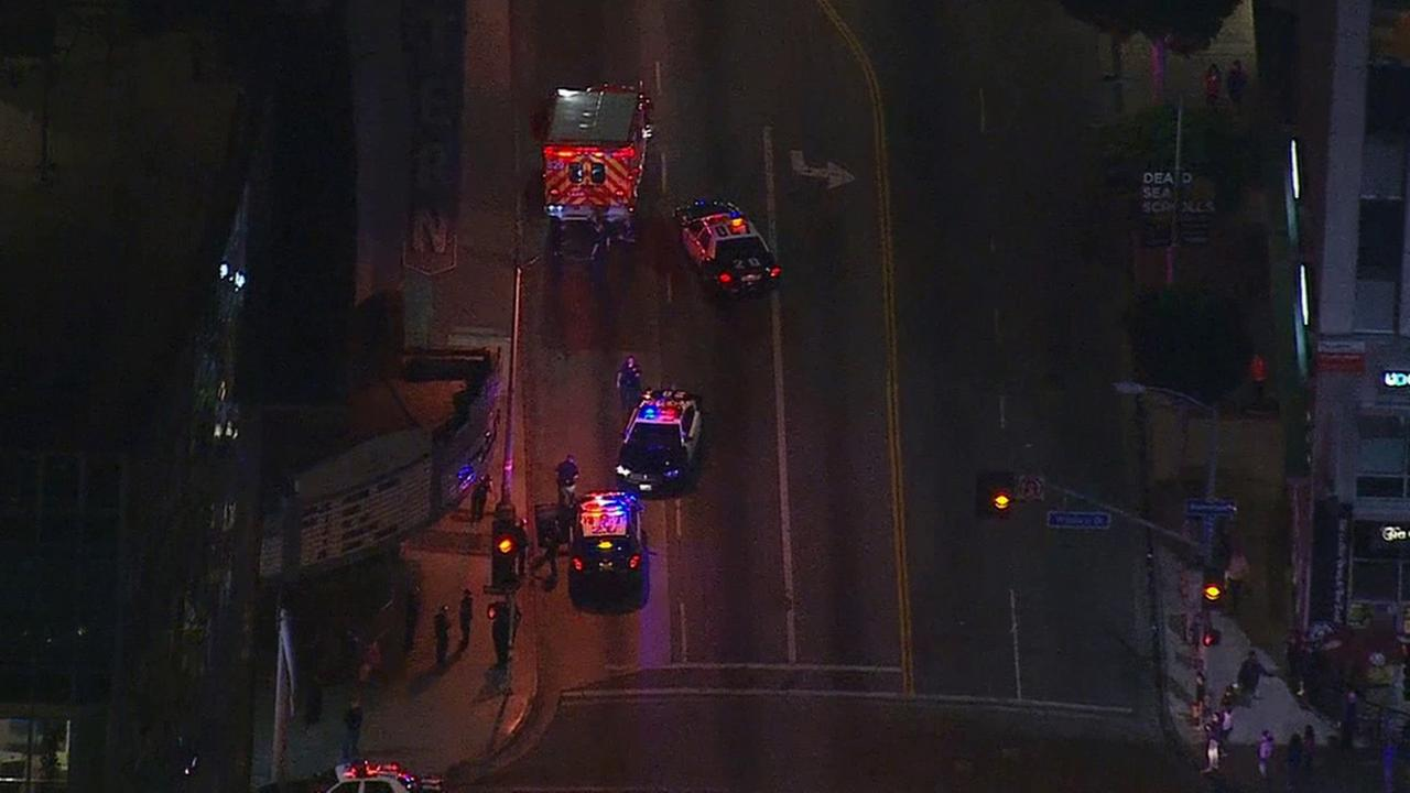 Two LAPD officers were injured following a scuffle with a suspect during a traffic stop near Wilshire Boulevard and Western Avenue in Koreatown Monday, April 20, 2015.