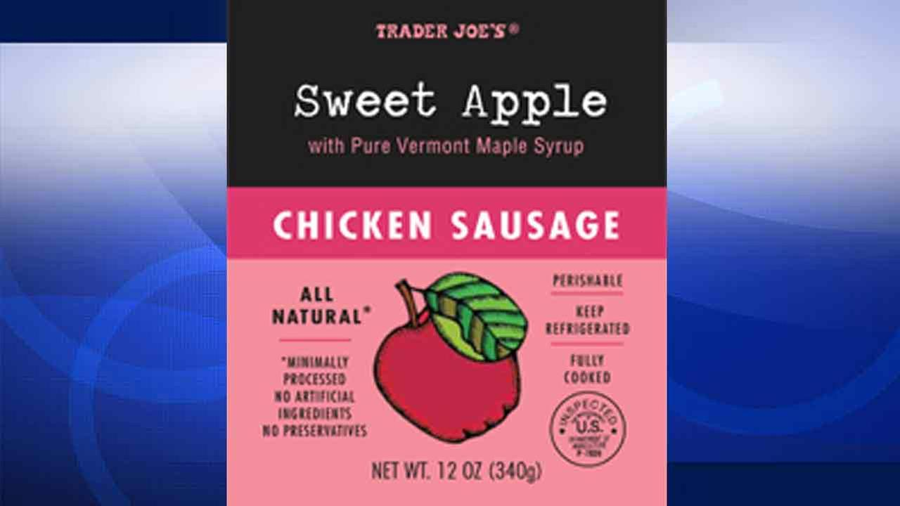 Trader Joes is recalling its Sweet Apple Chicken Sausage because the products may contain small plastic pieces.