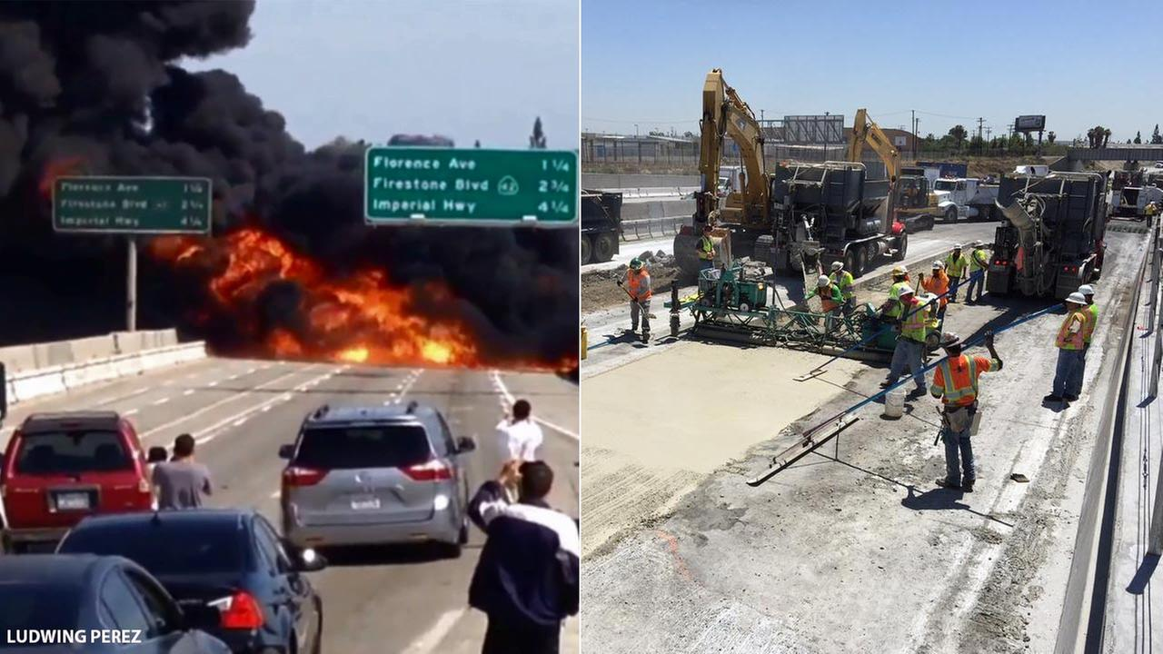 Repairs are underway on the southbound 710 Freeway in Bell following a massive tanker truck fire on Sunday, April 26, 2015.