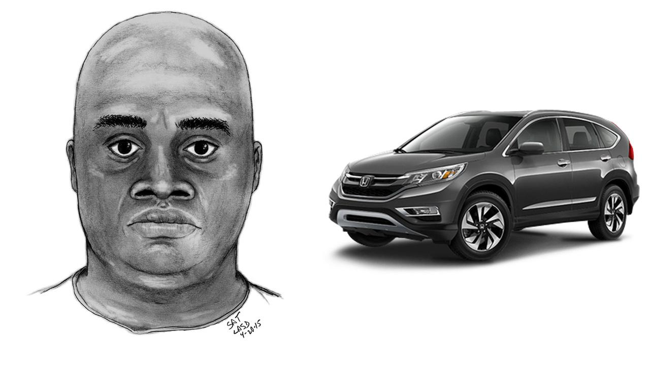 A composite sketch of a suspect who attempted to kidnap a Pasadena woman and a photo of what his vehicle may look like is shown above.