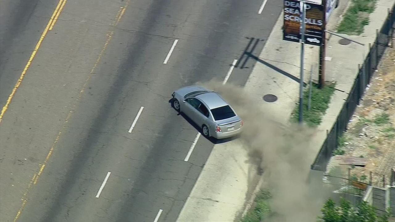 A female suspect was taken into custody after leading sheriffs deputies on a wild chase from Compton to South Los Angeles Thursday, April 30, 2015.