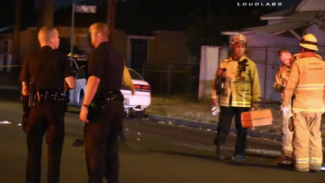 Two men were wounded in a drive-by shooting near Gentry Avenue and Cantara Street in North Hollywood Saturday, May 2, 2015.