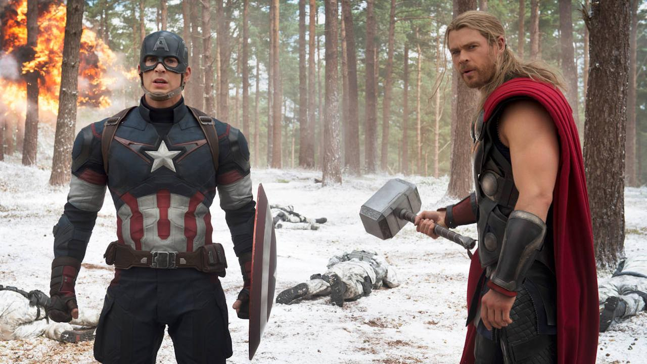 Chris Evans, left, as Captain America/Steve Rogers, and Chris Hemsworth as Thor, in a scene of the new film, Avengers: Age Of Ultron.