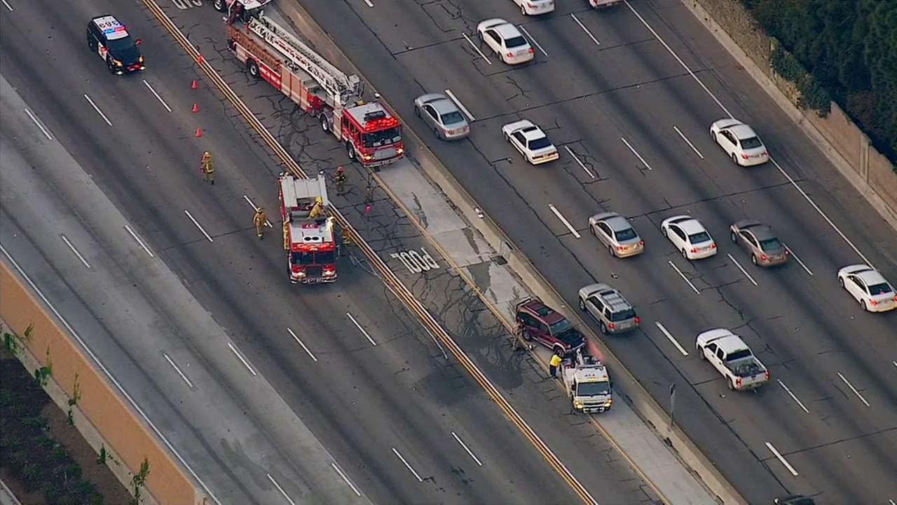 Emergency crews on scene of car crash on the northbound 405 Freeway in West Los Angeles on Monday, May 4, 2015.