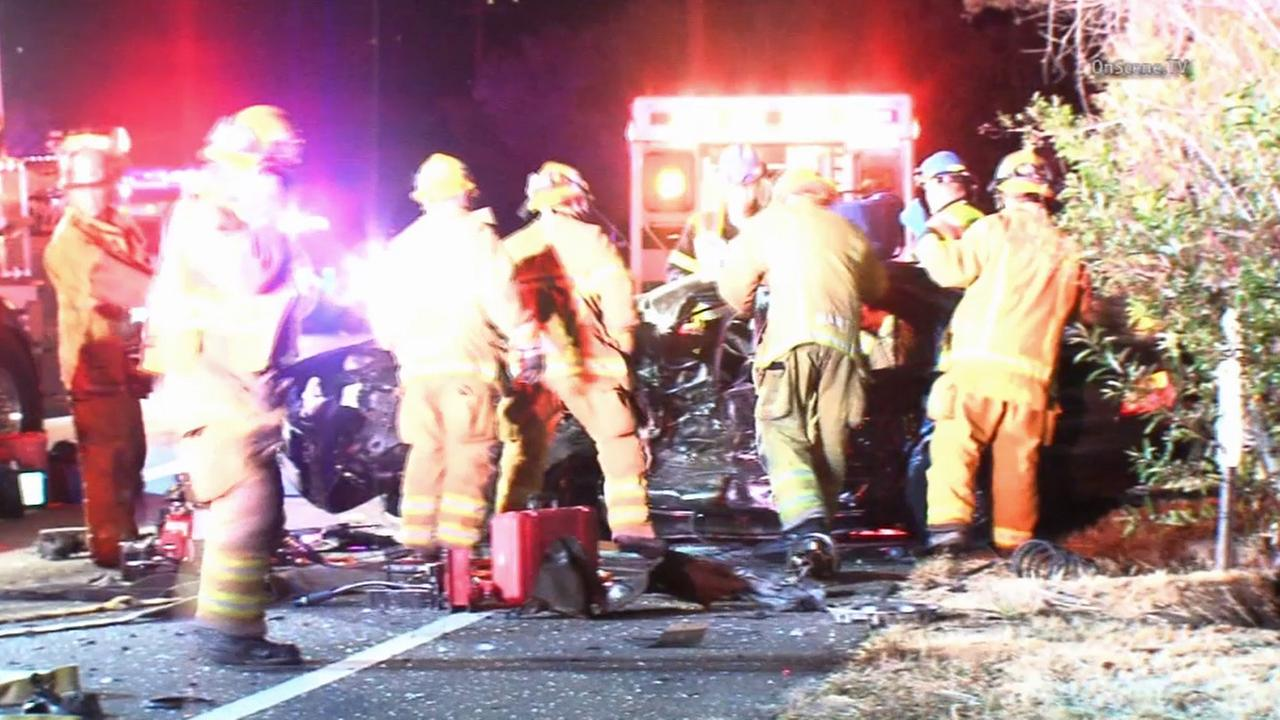 Laguna Beach firefighters respond to a fatal collision near Laguna Canyon and El Toro roads Sunday, May 10, 2015.