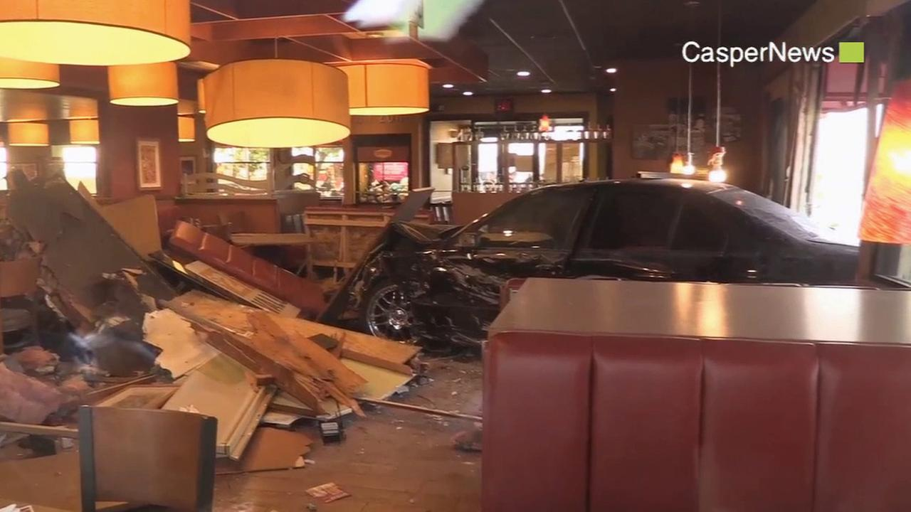 An alleged DUI suspect crashed his vehicle into a Dennys restaurant in the 500 block of 4th Street in Perris Sunday, May 10, 2015.