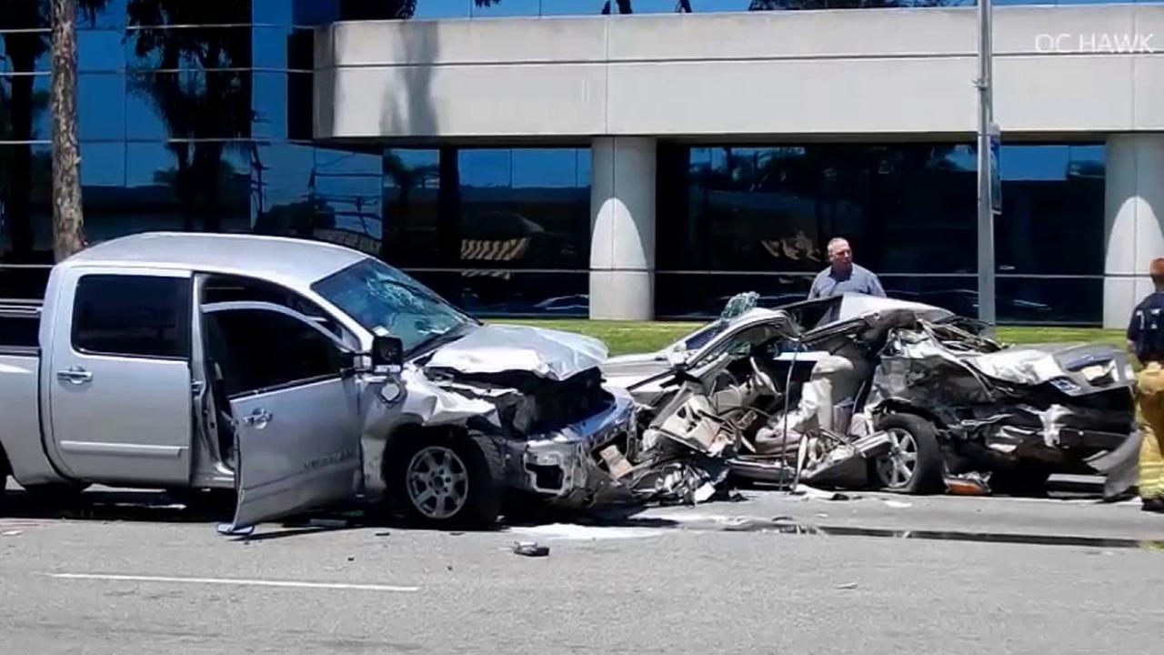 Firefighters respond to a deadly crash in Buena Park on Sunday, May 10, 2015.