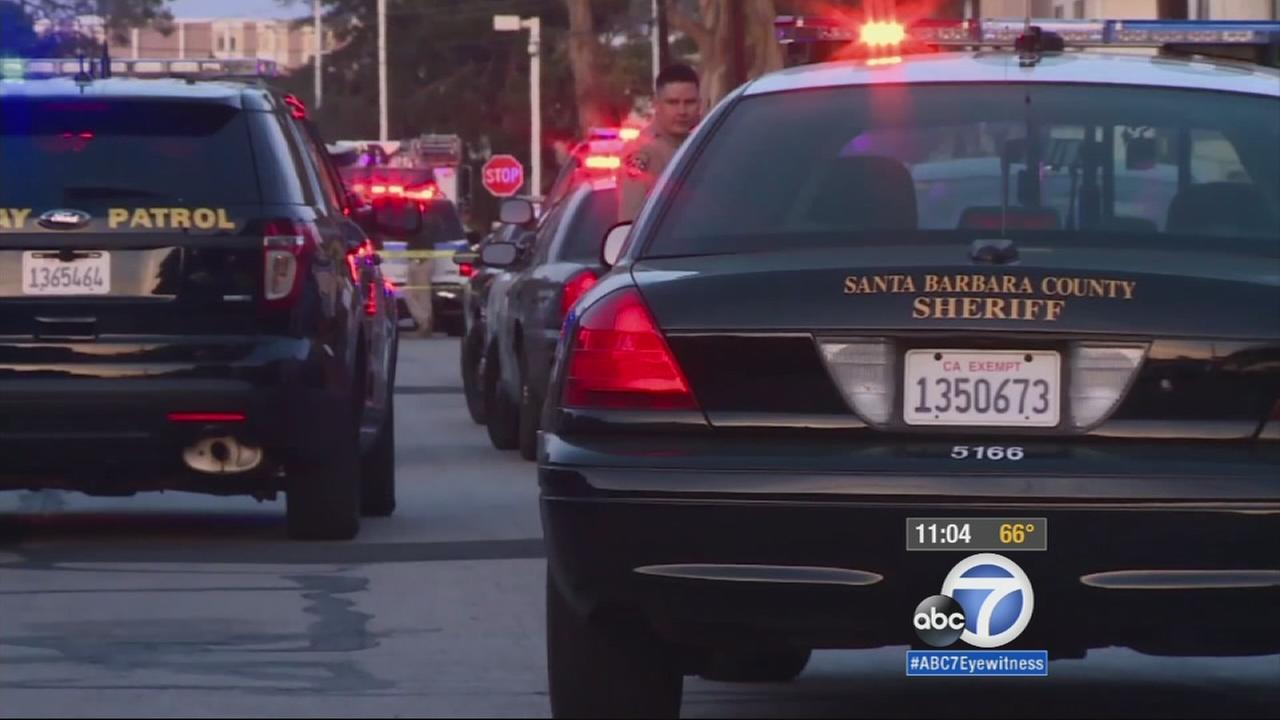 Santa Barbara County Sheriffs Department patrol cars are shown near the scene of a shooting in Isla Vista on Monday, May 11, 2015.