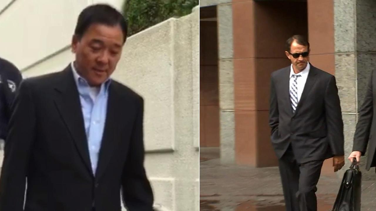 Former Undersheriff Paul Tanaka (L) and former Capt. William Thomas Carey (R) pleaded not guilty in U.S. District Court Thursday, May 14, 2015.
