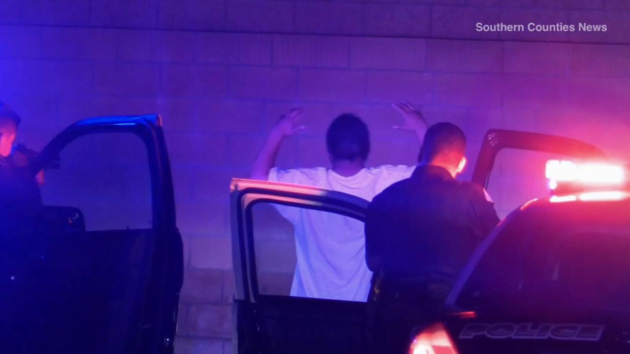 Garden Grove police arrest a teen involved in a chase on the morning of Saturday, May 16, 2015.
