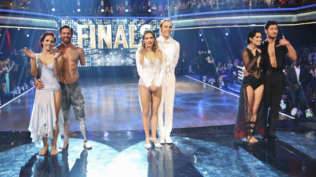 The final three couples compete in the season finale of Dancing With The Stars.