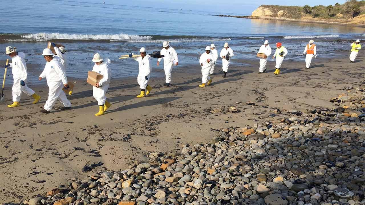 A cleanup crew walk down Refugio State Beach on Wednesday, May 20, 2015.