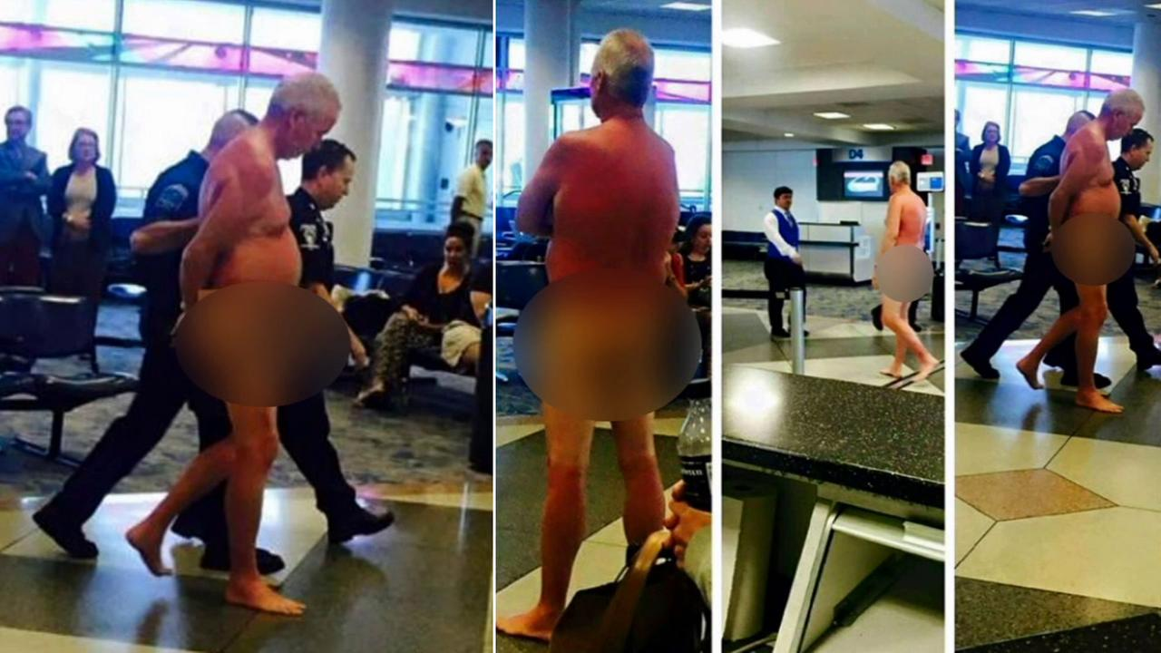 A man stripped naked at the Charlotte Douglas International Airport in North Carolina Wednesday, May 20, 2015.