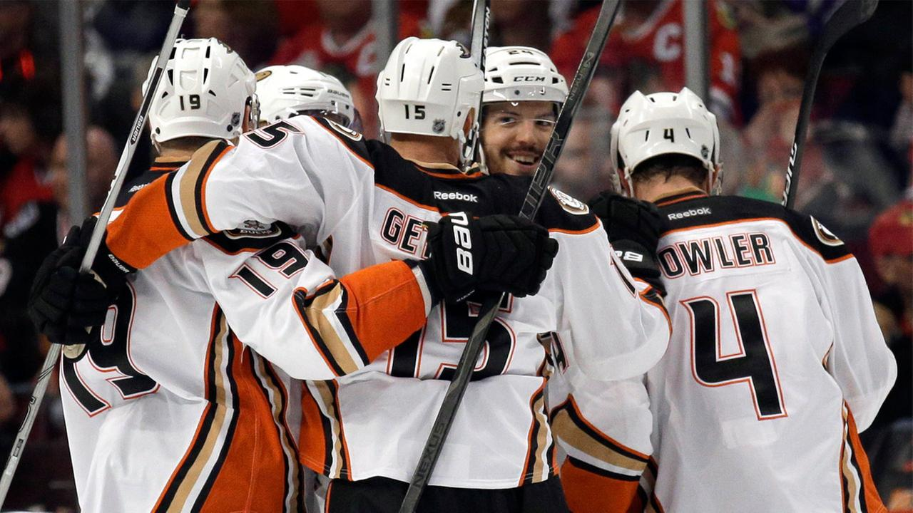 Anaheim Ducks defenseman Simon Despres, second from right, celebrates a goal with teammates during the second period of Game 3 of the Western Conference finals May 21, 2015.