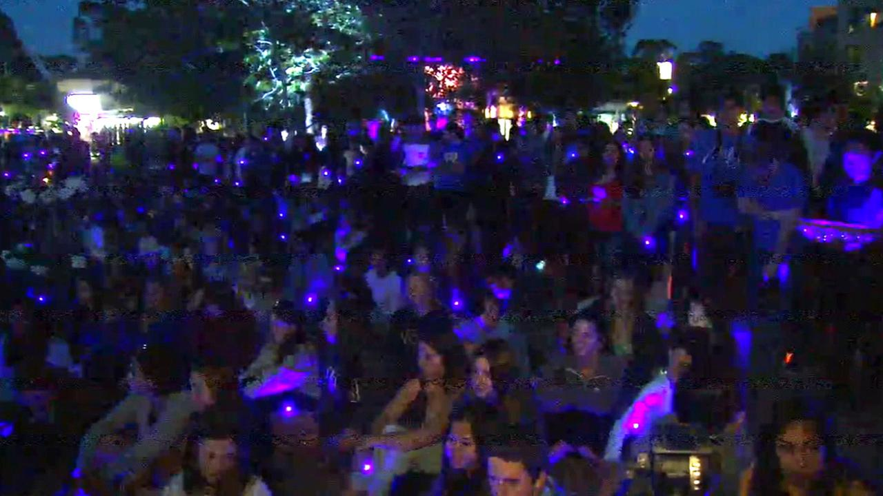 Hundreds of blue lights illuminated Peoples Park in Isla Vista to mark the one year anniversary of a deadly rampage that left seven people dead on Saturday, May 23, 2015.