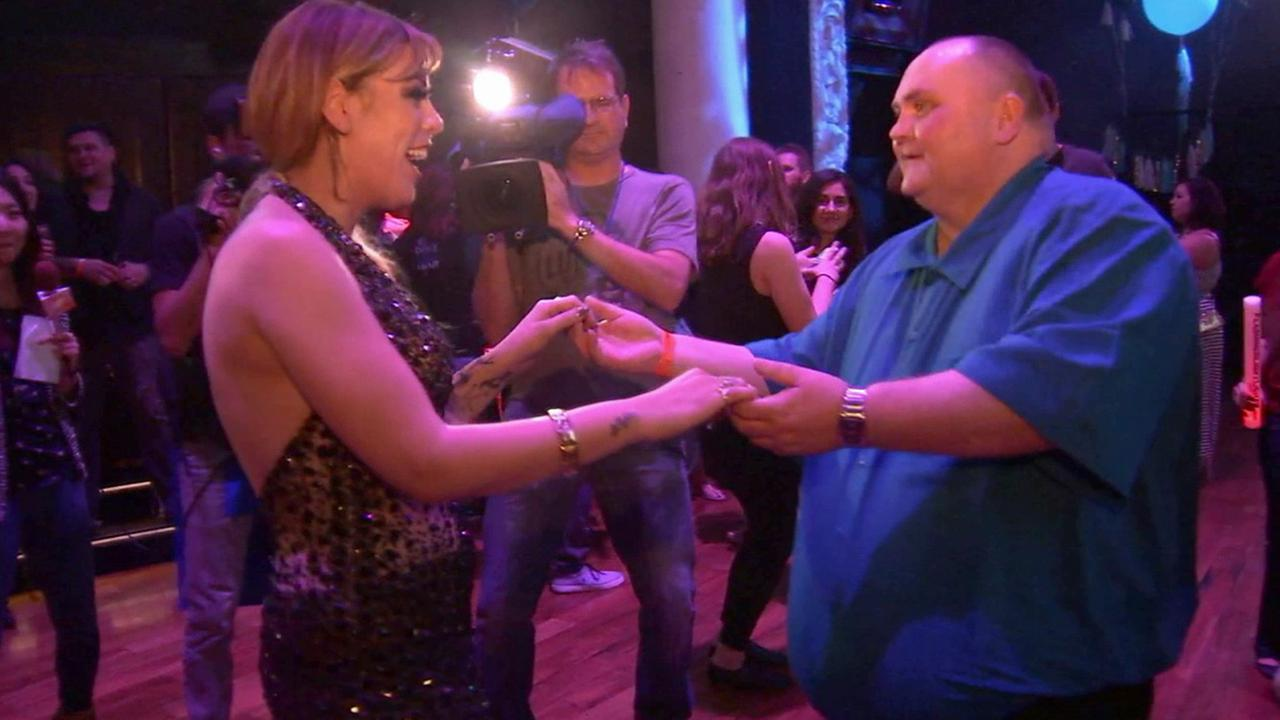 Sean OBrien, also known as the Dancing Man, dances at a party thrown just for him in Hollywood on Saturday, May 23, 2015.