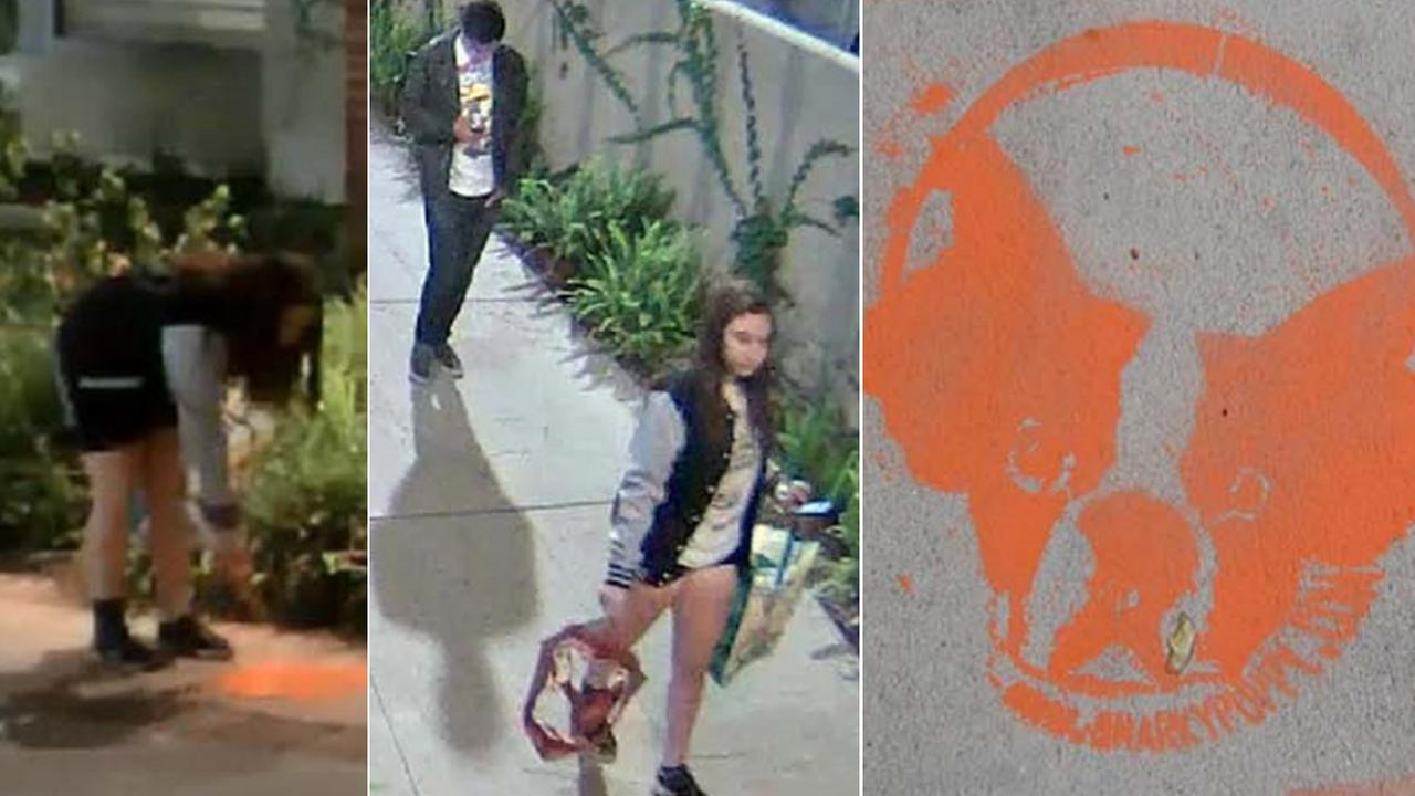 UCLA police are searching for two suspects who allegedly spray-painted Snarky Puppy characters at eight locations on campus on Friday, May 22, 2015.