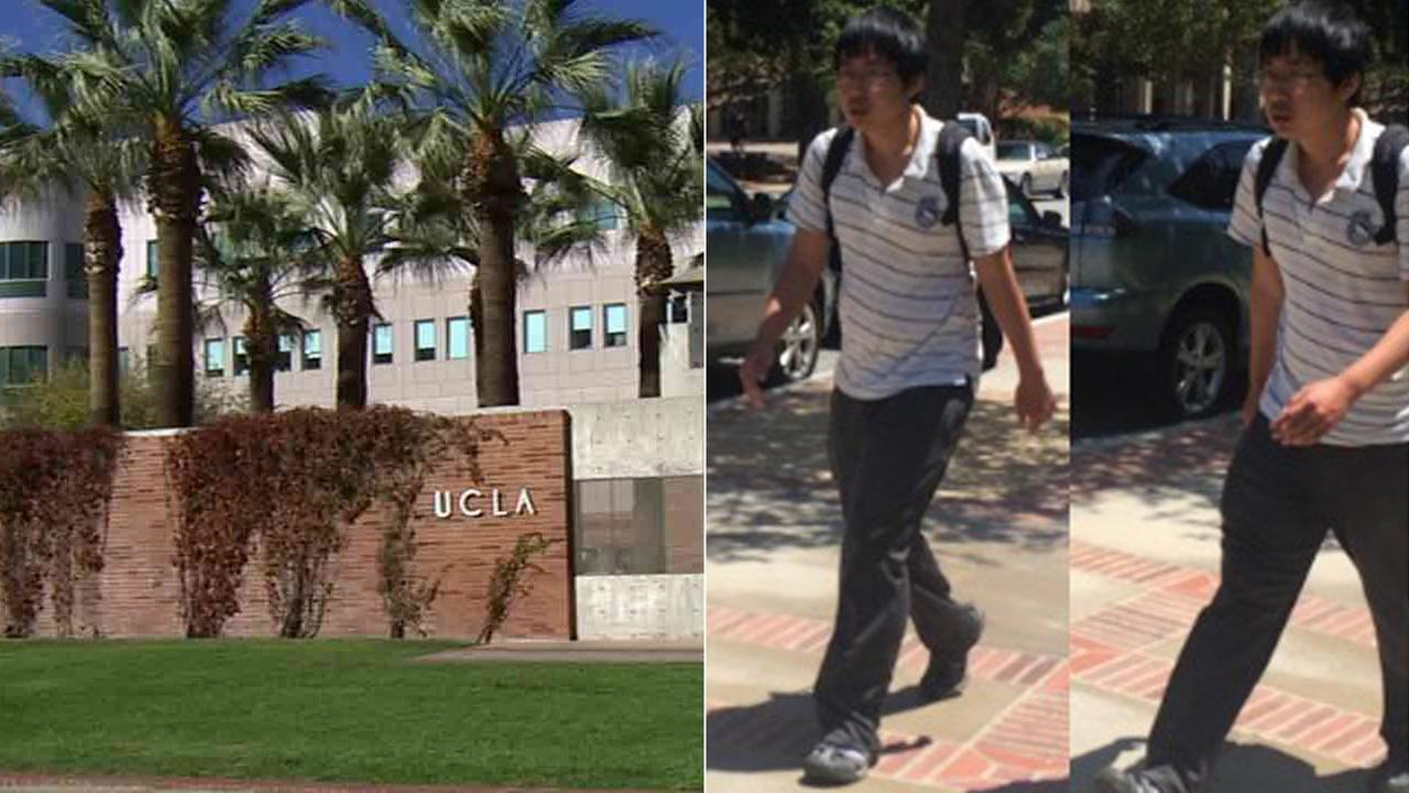 (Left) The University of California, Los Angeles campus is seen in this undated file photo. (Right) UCLA police are searching for this sexual assault suspect.