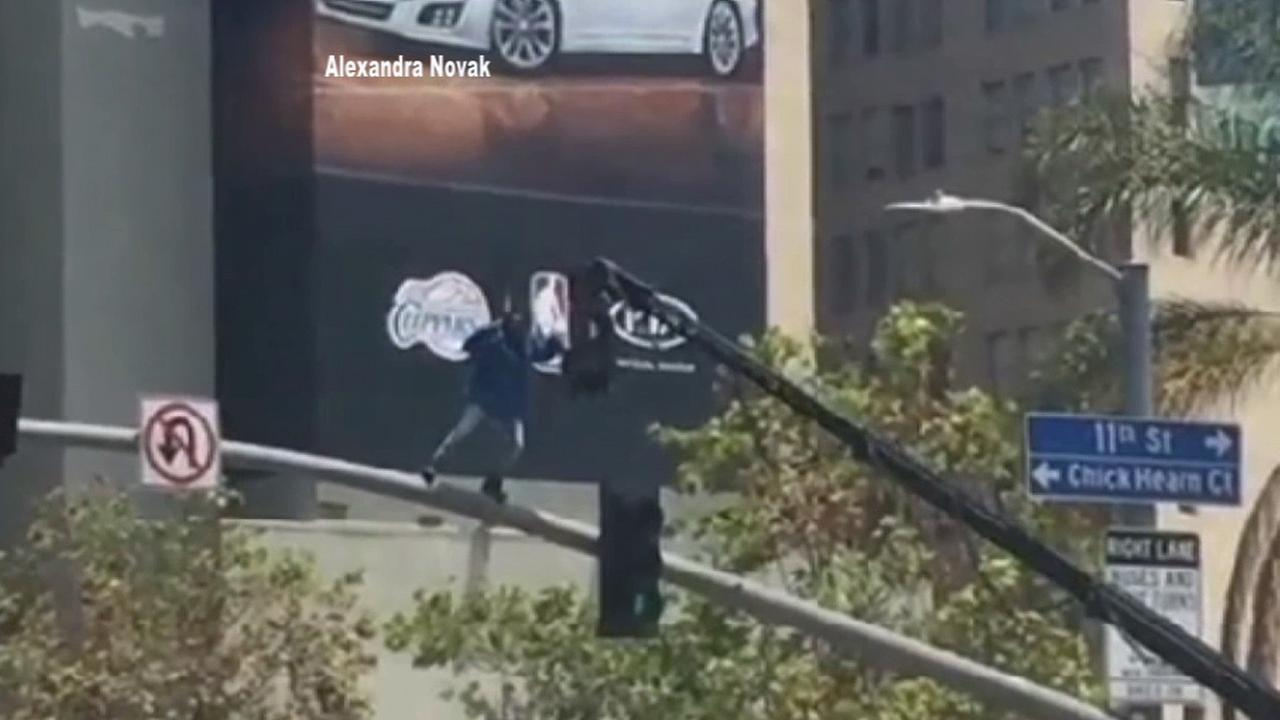 Kendrick Lamar shot part of his video for Alright from his third studio album, To Pimp a Butterfly, at Figueroa and 11th streets in downtown Los Angeles Thursday, May 28, 2015.