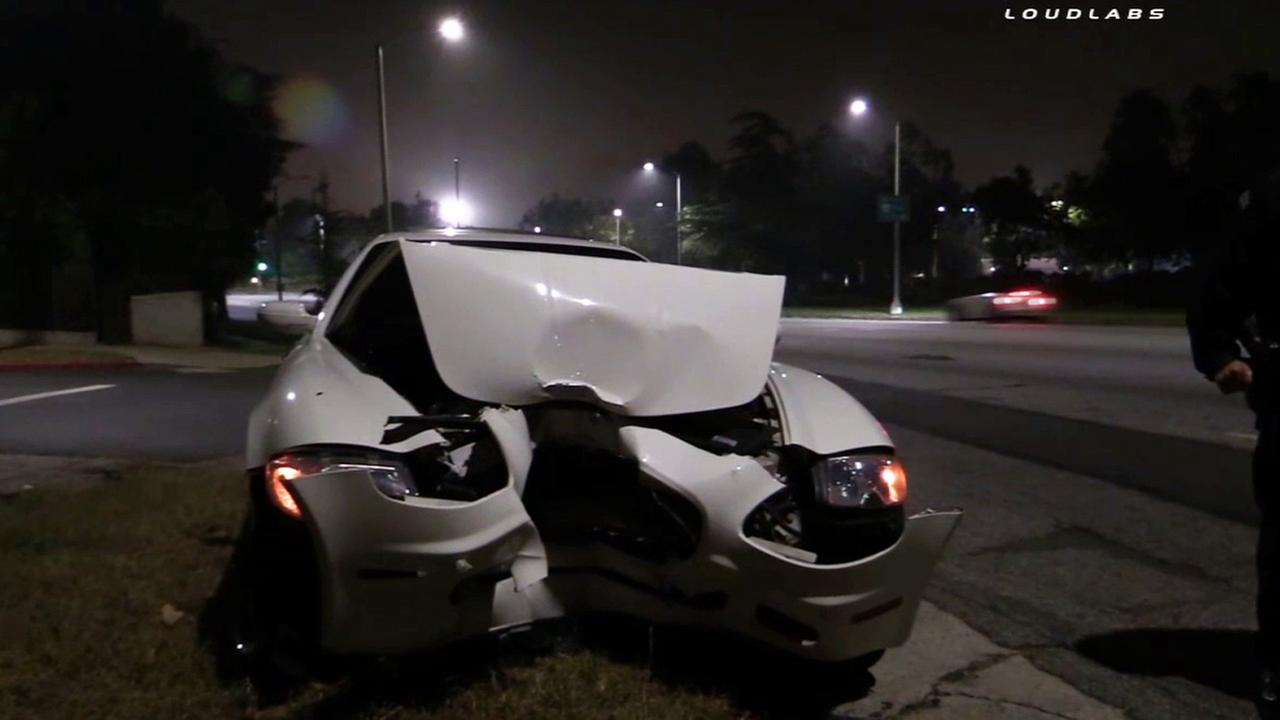 A damaged Maserati was found in the 3600 block of Los Feliz Boulevard in Los Feliz Saturday, May 30, 2015.